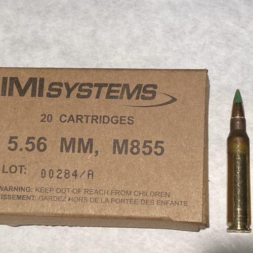 5.56 IMI NATO 62g Green Tip FMJ M855 20 Round Box